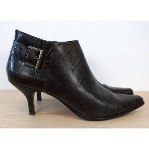 DONALD J PLINER Lexie Leather Croc Ankle Boots